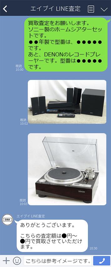 オーディオ買取エイブイ LINEのやりとり例 参考イメージ